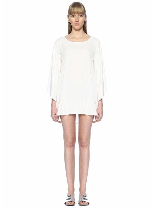 Sundress Sırt Dekolteli Fırfırlı Mini Elbise Beyaz